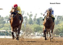Masochistic (left) races past San Onofre to win the Kona Gold.