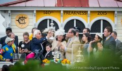 The connections of American Pharoah celebrate capturing the second jewel of the Triple Crown