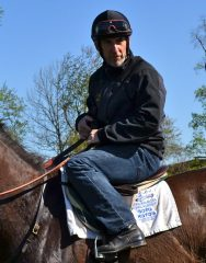 Remi Bellocq hops aboard Marble to give students some pointers on how to handle the gelding