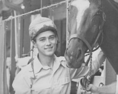 A young Brian Swatuk with Conn Smythe's champion filly Not Too Shy