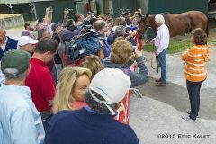 American Pharoah, with trainer Bob Baffert, mingles with fans in New York