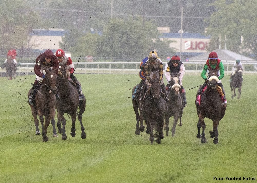 Secret Gesture (far left) was DQ'd from first in the G1 Beverly D. Stakes