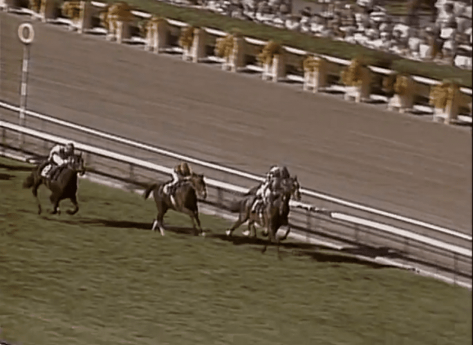 Dancing Brave (left) fails to muster a bid in the stretch and finishes 4th in the 1986 Turf