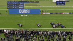 Air Force Blue streaks home in the Dubai Dewhurst Stakes at Newmarket
