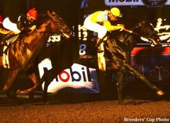 Sunday Silence holds off Easy Goer in the '89 Breeders' Cup Classic