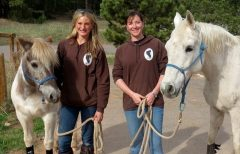 Carina (left) and Dana have advanced training in trauma-focused equine-assisted psychotherapy