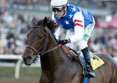 Runhappy and Gary Stevens winning the 2015 Malibu Stakes