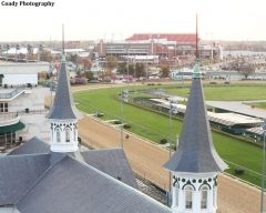 A view from 'between the spires' at Churchill Downs