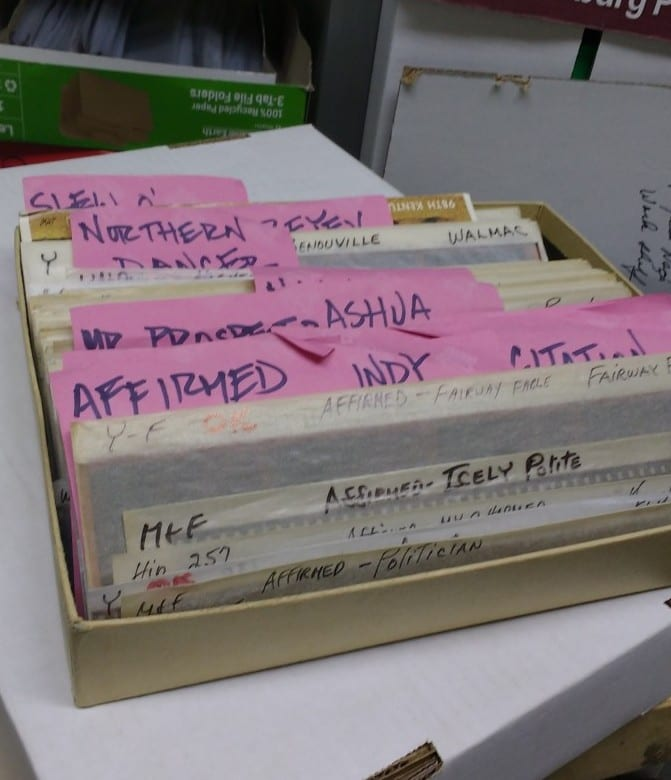 A sample drawer containing negatives of Leonard's most famous subjects