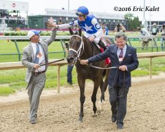 Tepin's connections celebrate her Derby Day victory