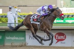 Nyquist, Mario Gutierrez aboard, wins the 142nd Kentucky Derby at Churchill Downs in Louisville, Kentucky.