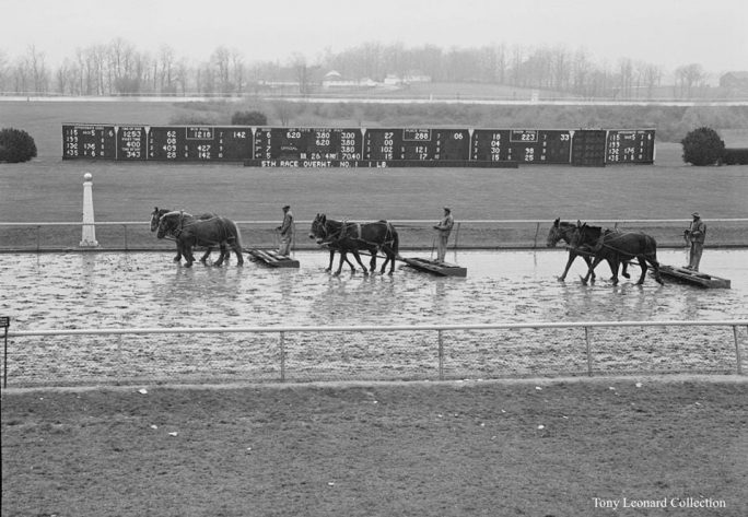 This image of the sealing of the Keeneland main track is one of Shiflet and Lossen's favorite finds