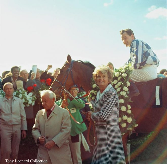 Penny Chenery and Riva Ridge, looking radiant in the winner's circle