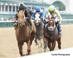 Diva Express (inside) and I'm A Looker dead heat for the win in Churchill's Winning Colors Stakes.