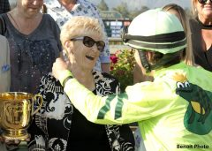 Owner Susan Osborne, left, has a hug for jockey Joseph Talamo after Melatonin's victory in the Grade I, $500,000 Gold Cup at Santa Anita