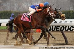 Outwork (Uncle Mo) and jockey John Velazquez win the Wood Memorial (Gr I) at Aqueduct