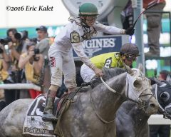 Irad Ortiz celebrates just after crossing the wire on Creator
