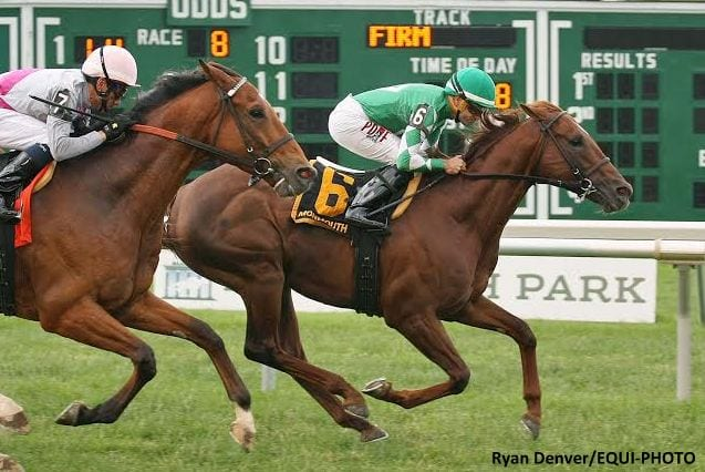 Middleburg #6 with Joe Bravo riding won $100,000 Red Bank Stakes at Monmouth Park