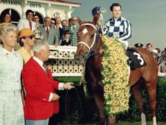 Penny Chenery, Lucien Lauren, and Ron Turcotte with Secretariat after his Preakness win