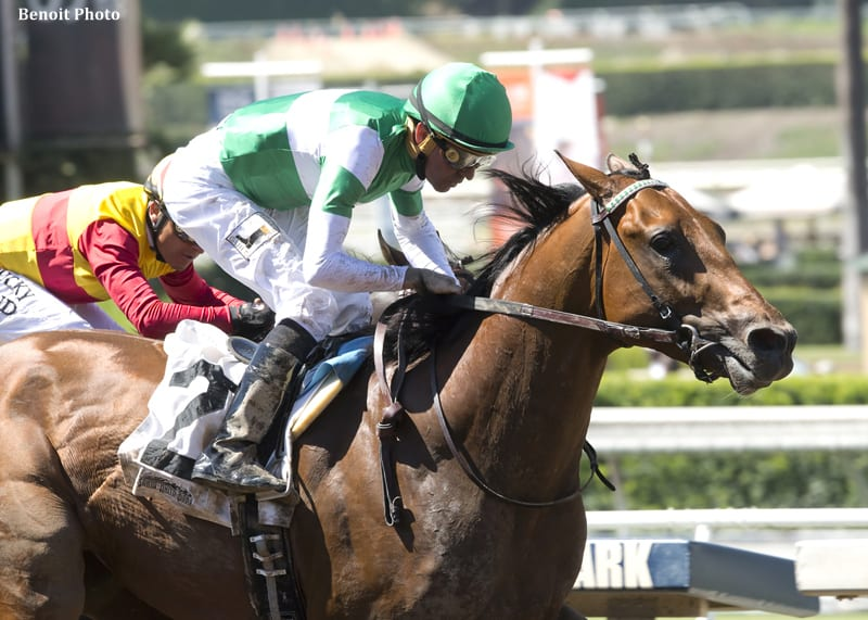 Dalmore and jockey Kent Desormeaux, outside, overpower Danzing Candy (Rafael Bejarano), inside, to win the G3 Affirmed Stakes