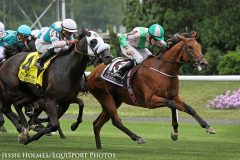Deauville (IRE) (Galileo) and jockey Jamie Spencer win the Belmont Derby Invitational (Gr I) at Belmont Park