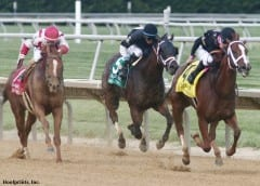 I'm A Chatterbox and jockey Florent Geroux win the G1 Delaware Handicap