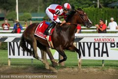 Songbird (Medaglia d'Oro) and jockey Mike Smith win the Coaching Club American Oaks (Gr I) at Saratoga