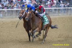 Marking (blue silks) and A.P. Indian battle to the wire in the Belmont Sprint Championship