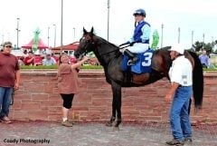 """Brandi Jo Fett stands at the head of """"Bobby,"""" once written off as a crazy horse, while her father Joe Fett stands at his hip after his latest win."""