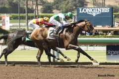 Dalmore and jockey Kent Desormeaux, outside, overpower Danzing Candy (Rafael Bejarano), inside, to win the Grade III, $100,00 Affirmed Stakes,