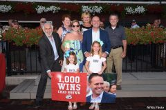 Trainer Chad Brown celebrates his 1,000th career win with his family and friends at Saratoga Aug. 24