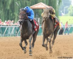 Godolphin's Innovative Idea earned her first graded stakes win in the G3 Groupie Doll Stakes