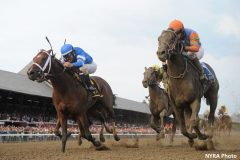 Alpha and Golden Ticket dead heat in the 2012 Travers Stakes