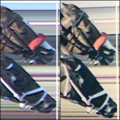 On the left, is a blow-up image from Del Mar's website, showing a sliver of space between the nose of Navy Hymn  (top) and the line used to determine finish order. The blown-up image on the right is what stewards and placing judges viewed.