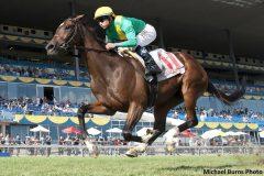 Alan Garcia guides Shake Down Baby to capture the $125,000 La Prevoyante Stakes