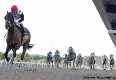Awesome Slew #14 with Paco Lopez riding won the $300,000 Grade III Smarty Jones Stakes at Parx Racing
