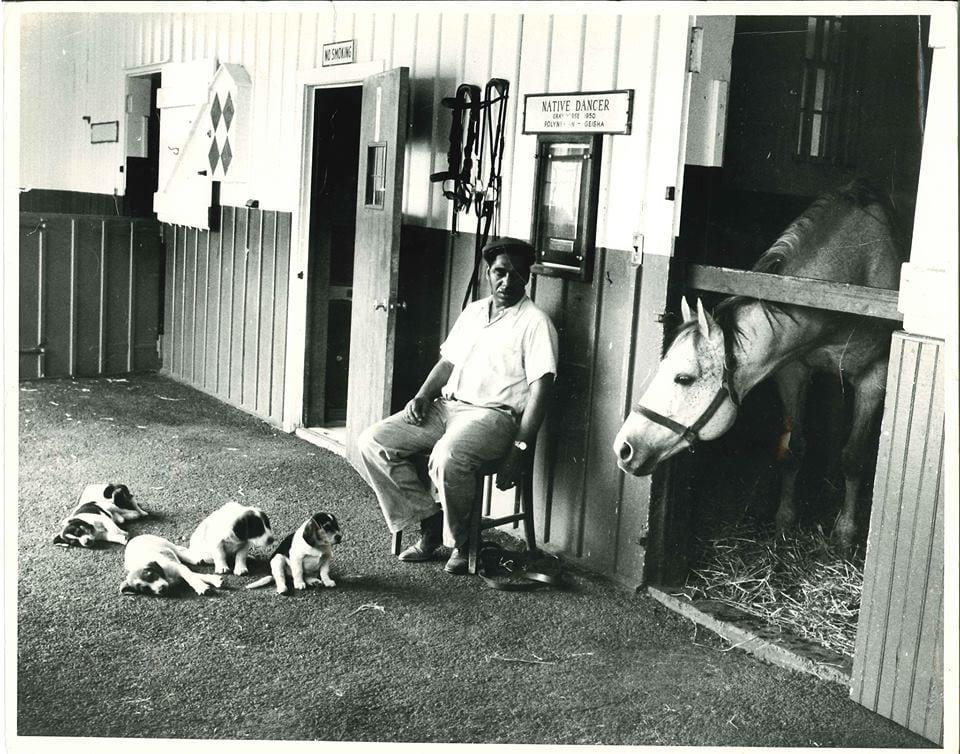 Native Dancer with Joe Hall and Hall's dogs