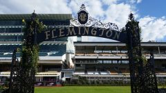 Flemington Racecourse sign in mounting yard