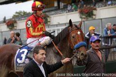 Hoppertunity (Any Given Saturday) and jockey John Velazquez win the Jockey Club Gold Cup (Gr I) at Belmont Park.