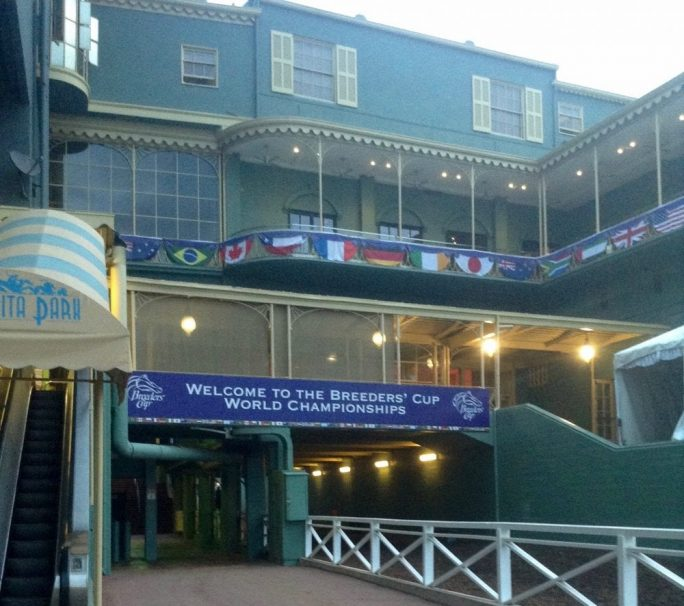 Breeders' Cup signage has begun to go up around the grandstand. Soon, every available area will be draped in purple