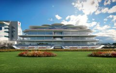 The trackside elevation of Flemington's proposed new Club Stand, timetabled for completion in time for the 2018 Melbourne Cup. (Image courtesy of the Victoria Racing Club).