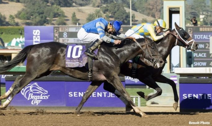 Classic Empire holds off the late rush of Not This Time to win the BC Juvenile