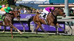 Obviously holds off Om in the Breeders' Cup Turf Sprint