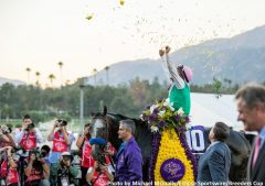 Mike Smith celebrates Arrogate's Classic victory