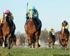 Bigger Picture (center) powers to victory in the G3 Red Smith Handicap