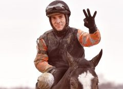 Horacio Karamanos had a riding triple on Monday's holiday card at Laurel Park