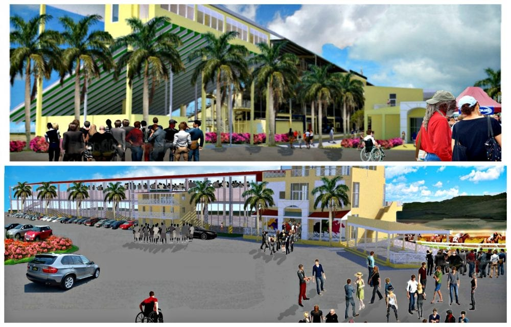 Top: Artist rendering of renovated Randall 'Doc' James Racetrack. Bottom: Artist rendering of renovated Clinton Phipps Racetrack