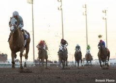 California Chrome bursts away from the field in the Winter Challenge