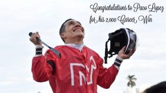 Paco Lopez celebrates his 2000th career win (photo via Gulfstream Park Twitter feed)