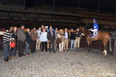 Filibustin and her connections after the filly won Aqueduct's Key Cents Stakes in 2016